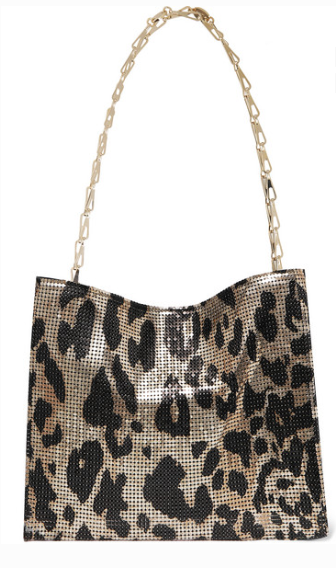 Paco Rabanne ICON LEOPARD-PRINT CHAINMAIL SHOULDER BAG