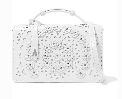 Alaia SMALL APPLIQUÉD LASER-CUT LEATHER SHOULDER BAG