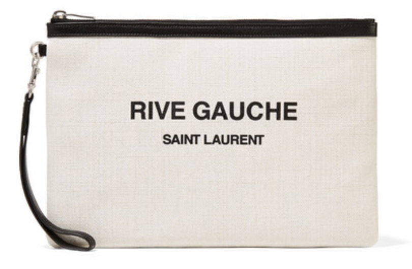 Saint Laurent Leather-trimmed printed canvas pouch