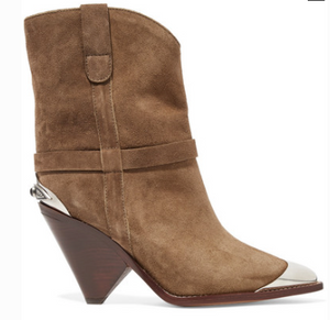 Isabel Marant LAMSY EMBELLISHED SUEDE ANKLE BOOTS