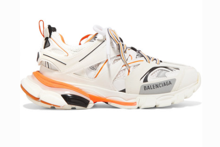 Balenciaga TRACK LOGO-DETAILED LEATHER, MESH AND RUBBER SNEAKERS