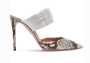 Aquazzura AQUAZZURA RENDEZ VOUS ELAPHE AND METALLIC LEATHER