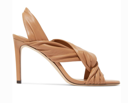 Jimmy Choo JIMMY CHOO LEILA 85 KNOTTED LEATHER SLINGBACK SANDALS