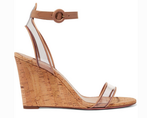 Aquazzura AQUAZZURA MINIMALIST 85 LEATHER AND PVC WEDGE SANDALS