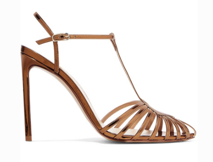 Francesco Russo FRANCESCO RUSSO CUTOUT MIRRORED-LEATHER SANDALS