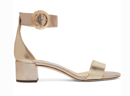 Jimmy Choo JIMMY CHOO JAIMIE 40 METALLIC LEATHER SANDALS