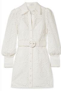 Zimmermann BELTED BRODERIE ANGLAISE COTTON MINI DRESS