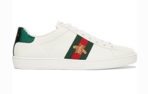 GUCCI ACE WATERSNAKE-TRIMMED EMBROIDERED