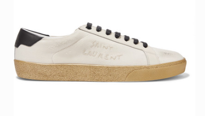 SAINT LAURENT COURT CLASSIC LEATHER-TRIMMED LOGO-