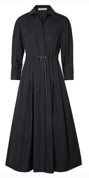 MAX MARA BELTED PLEATED COTTON-POPLIN MIDI DRESS