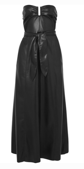 NANUSHKA ANJA STRAPLESS VEGAN FAUX LEATHER MIDI