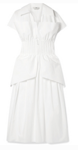 FENDI PINTUCKED COTTON-POPLIN PEPLUM DRESS