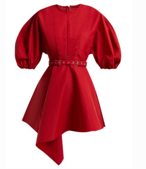 Marques' Almeida Asymmetric belted taffeta dress