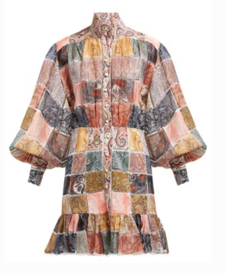 Zimmermann NINETY-SIX PATCHWORK-PRINT SHIRTDRESS