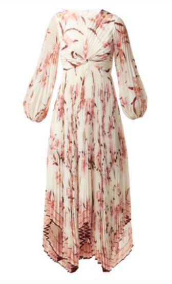 Zimmermann CORSAGE ORCHID PRINT PLEATED MIDI DRESS