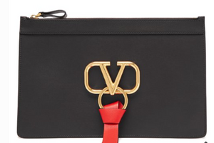 Valentino V-RING LEATHER POUCH