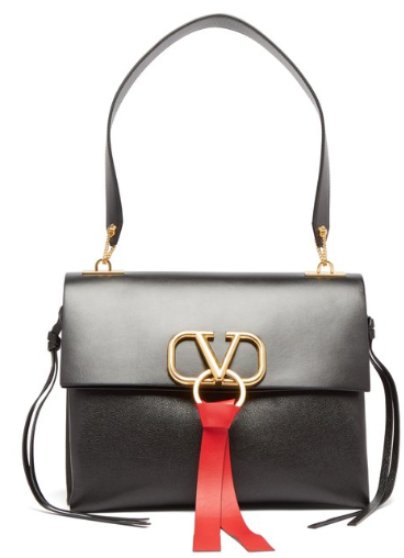 Valentino V-RING LEATHER SHOULDER BAG