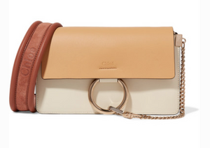 CHLOÉ FAYE SMALL LEATHER AND SUEDE SHOULDER BAG