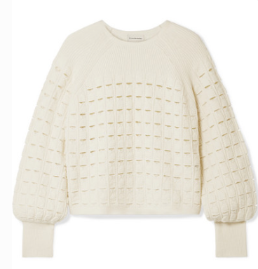 BY MALENE BIRGER OPEN-KNIT WOOL-BLEND SWEATER