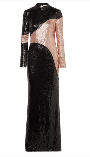 RACHEL ZOE GENEVIEVE OPEN-BACK TWO-TONE SEQUINED