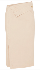 JACQUEMUS FOLDED DENIM MIDI SKIRT
