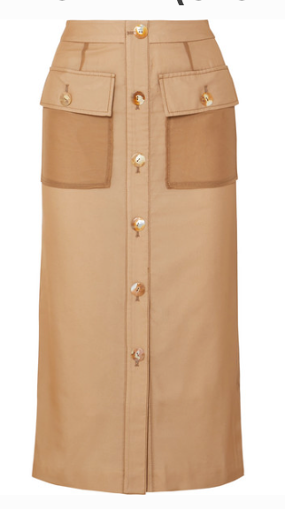 REJINA PYO LILY BUTTON-DETAILED COTTON AND LINEN-SKIRT
