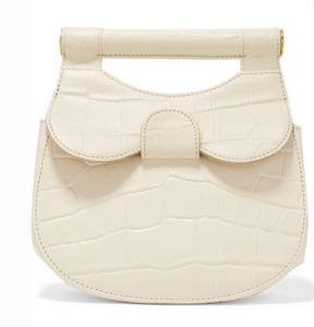 STAUD MADELINE MINI CROC-EFFECT LEATHER SHOULDER BAG