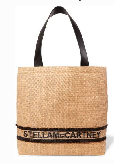STELLA MCCARTNEY SMALL FAUX LEATHER-TRIMMED RAFFIA TOTE