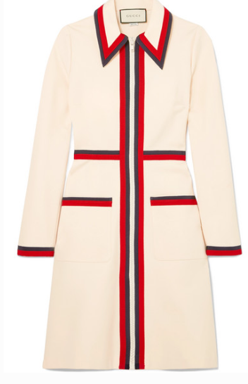 GUCCI GROSGRAIN-TRIMMED STRETCH-CREPE DRESS