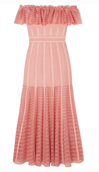 ALEXANDER MCQUEEN RUFFLED OFF-THE-SHOULDER MESH-DRESS