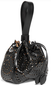 ALAÏA MINI LASER-CUT LEATHER BUCKET BAG
