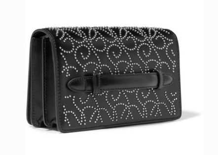 ALAÏA MINI STUDDED LEATHER CLUTCH