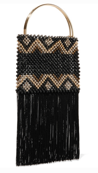 ROSANTICA JANICE FRINGED BEADED POUCH