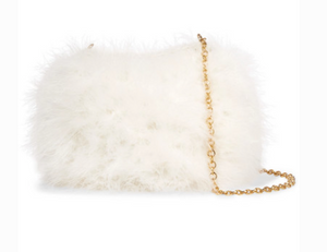 CAROLINA SANTO DOMINGO KNITTED FEATHER SHOULDER BAG