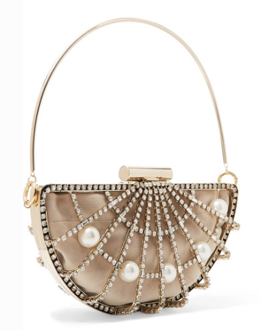ROSANTICA JODI CRYSTAL AND FAUX PEARL-EMBELLISHED BAG