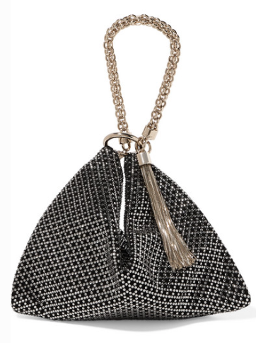JIMMY CHOO CALLIE CRYSTAL-EMBELLISHED SUEDE SHOULDER