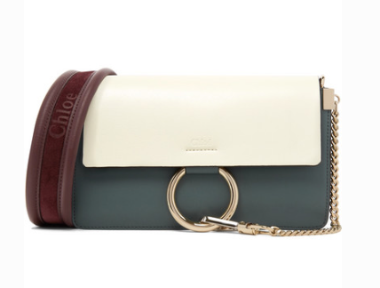 CHLOÉ FAYE SMALL COLOR-BLOCK LEATHER AND SUEDE SHOULDER BAG