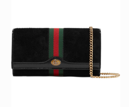 GUCCI OPHIDIA MICRO PATENT LEATHER-TRIMMED SUEDE