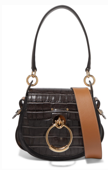 CHLOÉ TESS SMALL CROC-EFFECT LEATHER AND SUEDE SHOULDER