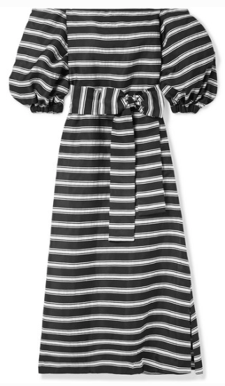 LISA MARIE FERNANDEZ ROSIE OFF-THE-SHOULDER STRIPED