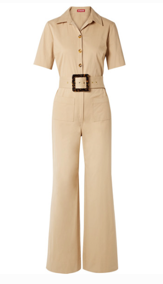 STAUD DAVEY BELTED COTTON-BLEND GABARDINE JUMPSUIT