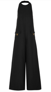 VALENTINO EMBELLISHED WOOL AND SILK-BLEND JUMPSUIT