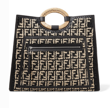 RUNAWAY LARGE LEATHER-TRIMMED WOVEN RAFFIA TOTE