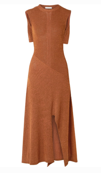 CAPE-EFFECT KNITTED MIDI DRESS