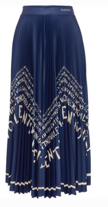 Valentino PRINTED PLEATED SATIN MIDI SKIRT
