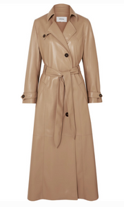 NANUSHKA CHIARA BELTED VEGAN LEATHER TRENCH COAT