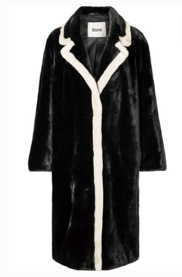 STAND - Marianne Two-tone Faux Fur Coat - Black