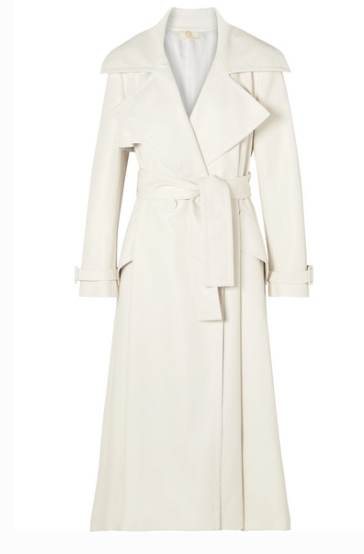 Sara Battaglia - Belted Faux Leather Trench Coat - White
