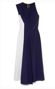 Roland Mouret - Felton Two-tone Crepe Midi Dress - Navy
