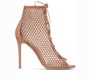 Gianvito Rossi 105 LACE-UP FISHNET ANKLE BOOTS